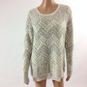 New Lucky Brand Women's Sweater Size XL Gray/White